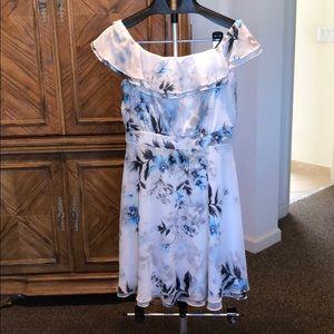 White House Black Market flowery white dress